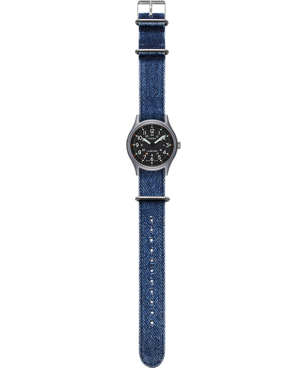 MK1 40mm Fabric Strap Watch Silver-Tone/Blue/Black large