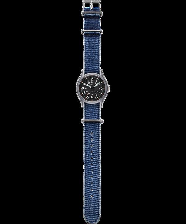 MK1 40mm Fabric Strap Watch Silver-Tone/Blue/Black large