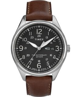 Waterbury Traditional Day Date 42mm Leather Strap Watch Stainless-Steel/Brown/Black large