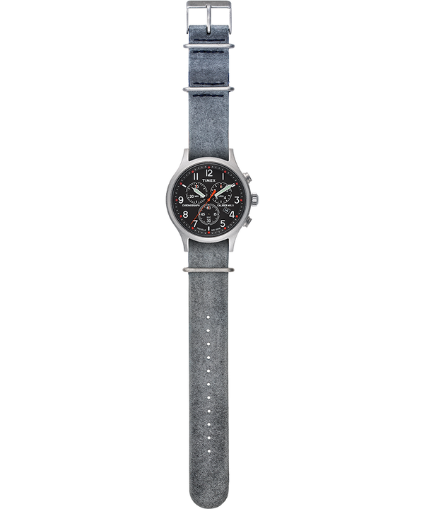 Allied Chronograph 42mm Leather Strap Watch Silver-Tone/Gray/Black large