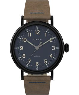 Standard 40mm Leather Strap Watch Gunmetal/Brown large