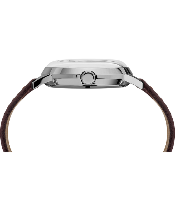 Marlin Automatic 40mm Leather Strap Watch Burgundy/Silver-Tone large
