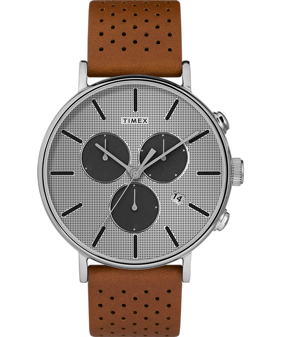 Fairfield Supernova 41mm Leather Strap Brown/Silver large
