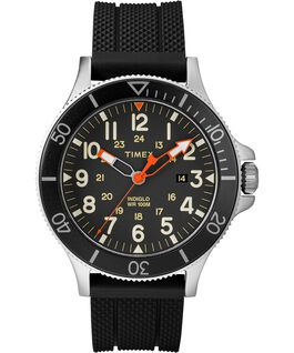Allied Coastline 43mm Silicone Strap Watch Silver-Tone/Black large