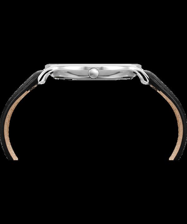 Metropolitan 40mm Leather Watch Silver-Tone/Black large
