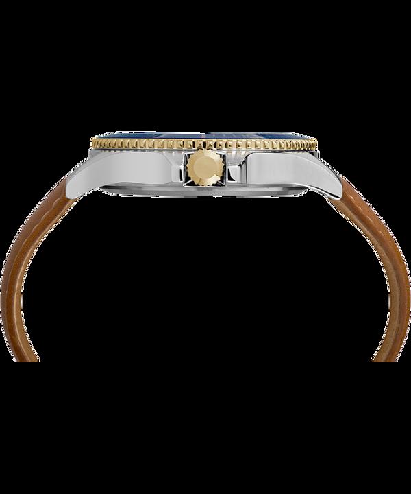 Harborside 42mm Leather Strap Watch Chrome/Tan/Blue large