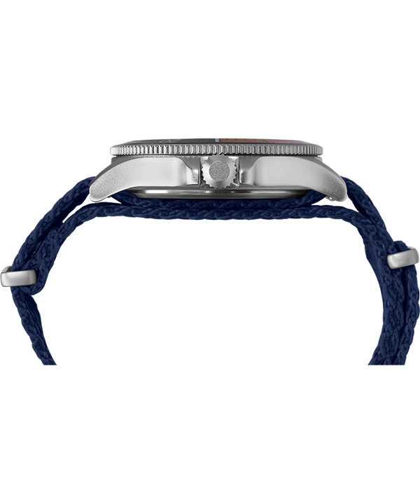 Allied® Coastline 43mm Fabric Strap Watch Silver-Tone/Blue large